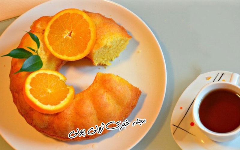 کیک پرتقالی با شیر