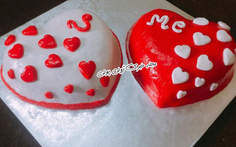 کیک ولنتاین طرح قلب