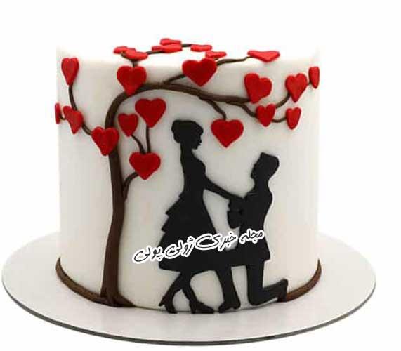 کیک ولنتاین با فوندانت