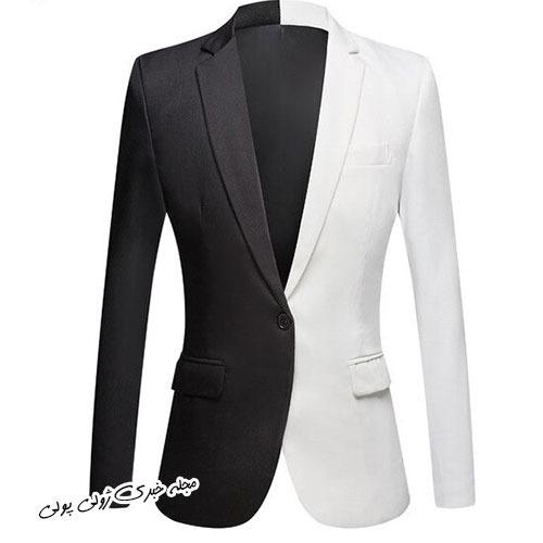 کت تک دو رنگ مشکی و سفید مردانه