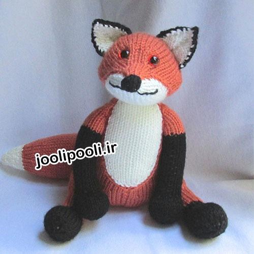 عروسک بافتنی روباه قلاب بافی