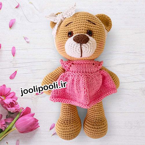 عروسک بافتنی خرس ولنتاین