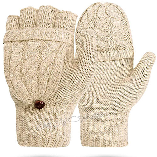 دستکش زمستانی بدون انگشت بافت دخترانه