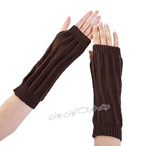 دستکش بدون انگشت کش بافت دخترانه