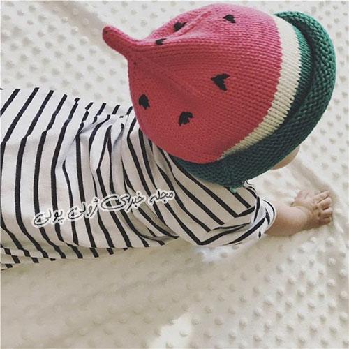 کلاه بافتنی مدل هندوانه نوزادی