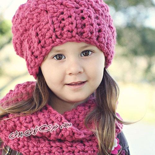 ست کلاه و شال گردن دخترانه بافتنی دو میل