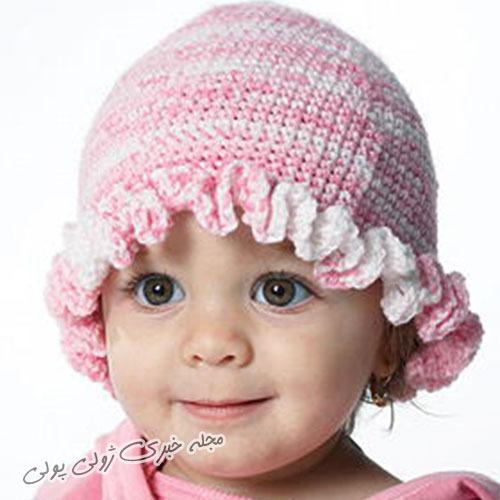 کلاه دورچین بافتنی نوزادی