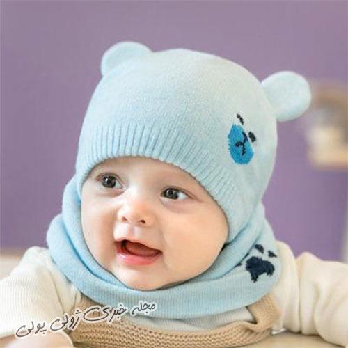 کلاه و شال گردن نوزادی بافتنی