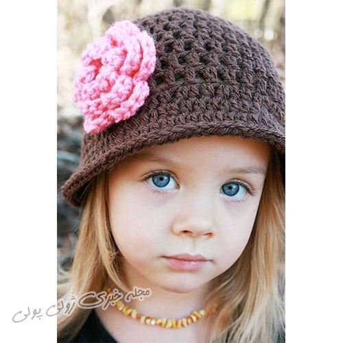 مدل کلاه دخترانه قلاب بافی گل دار