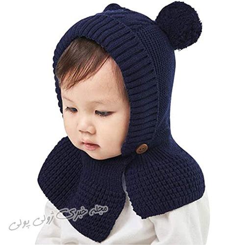 مدل کلاه بافتنی بچه گانه منگوله دار