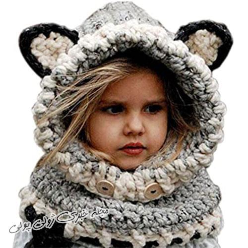 کلاه و شال گردن بافتنی فانتزی دخترانه