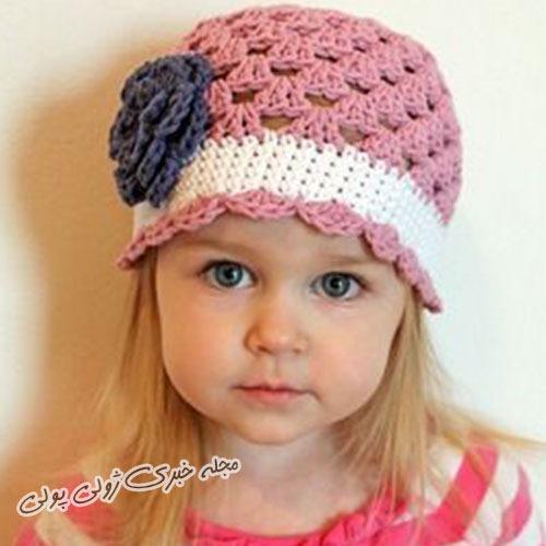 کلاه قلاب بافی دخترانه