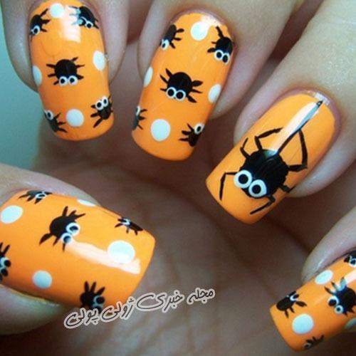 طراحی ناخن ویژه هالووین مدل تار عنکبوت
