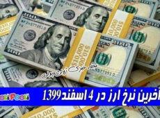 آخرین نرخ ارز در ۴ اسفند۱۳۹۹