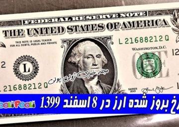 نرخ بروز شده ارز در ۸ اسفند ۱۳۹۹