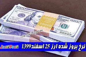 نرخ بروز شده ارز ۲۵ اسفند۱۳۹۹